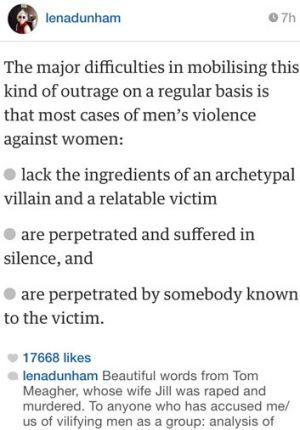lena dunham praises jill meagher s husband for violence against  lena dunham s instagram post of tom meagher s essay from earlier in 2014