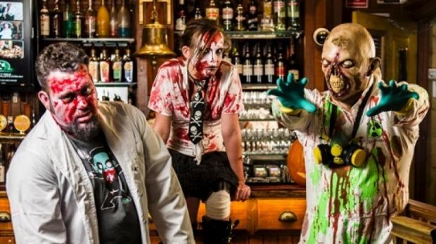 Plastered: Did Zombies Colin O'Mullane, left,  Victoria Ashman and Neil Stork-Brett get into the rotgut in King ...