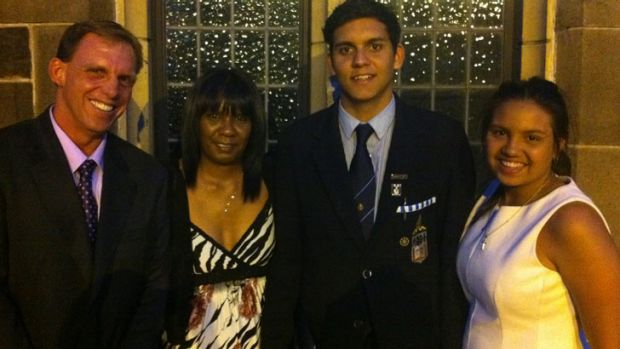 Joshua Hardy with his father David, mother Milly and sister Rebecca, following his graduation from Melbourne Grammar ...