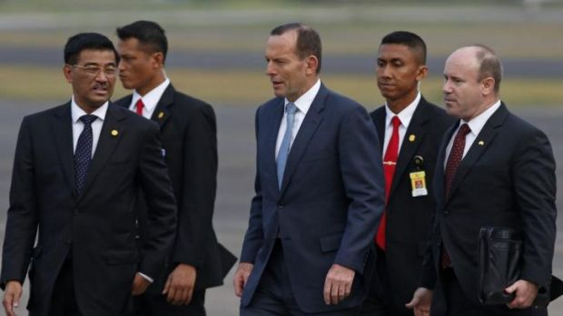 Welcome: The Prime Minister was greeted at Halim Perdanakusuma airport in Jakarta.