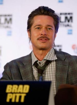 Actor Brad Pitt attends the press conference for <i>Fury</i> at the London Film Festival.