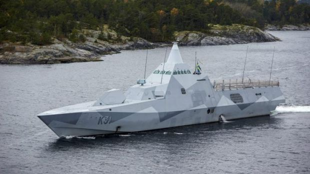 Swedish Navy Corvette HMS Visby patrols the Stockholm archipelago.