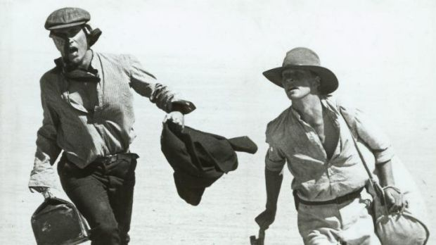 Flying: Mel Gibson and Mark Lee in a scene from <i>Gallipoli</i>.