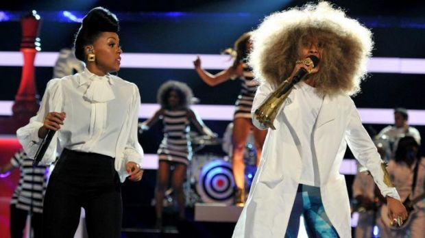 Erykah Badu performing to a more appreciative crowd with singer Janelle Monae at the 2013 BET Awards.