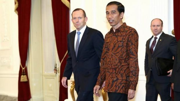 Indonesian President Joko Widodo (right) meets Australian Prime Minister Tony Abbott prior to a meeting at the ...