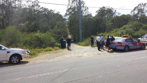 Police at the scene of a shooting in Rochedale South.