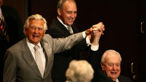 Former prime ministers Bob Hawke, Paul Keating and Gough Whitlam in 2007.