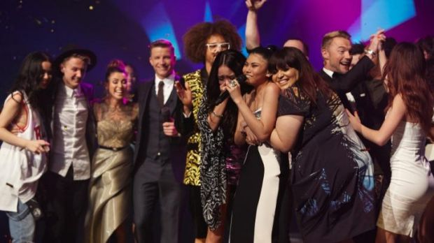 Celebrations on the set of <i>The X Factor</i> last night.