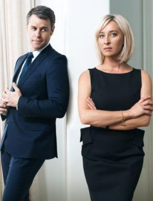 Disappointing: Rodger Corser and Asher Keddie in <i>Party Tricks</i>.