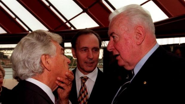 Former Labor prime ministers Bob Hawke, Paul Keating and Gough Whitlam in 1998.