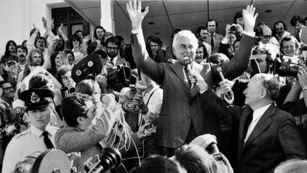 Former Prime Minister Gough Whitlam on the steps of Parliament House after his dismissal in 1975.