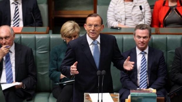 Prime Minister Tony Abbott moved a condolence motion for former prime minister Gough Whitlam at Parliament House in ...
