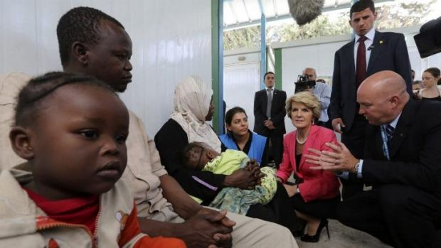 UNHCR chief in Jordan, Andrew Harper, right, with Sudanese refugees and Foreign Affairs Minister Julie Bishop.