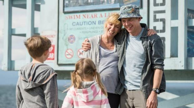 Family man: Pegg with Toni Collette and children in <i>Hector and the Search for Happiness</i>.