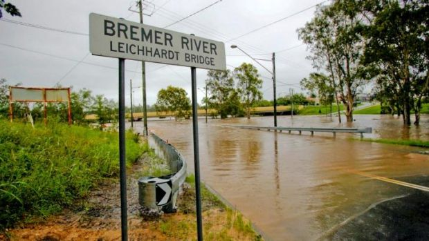The Bremer River swelling in Ipswich.