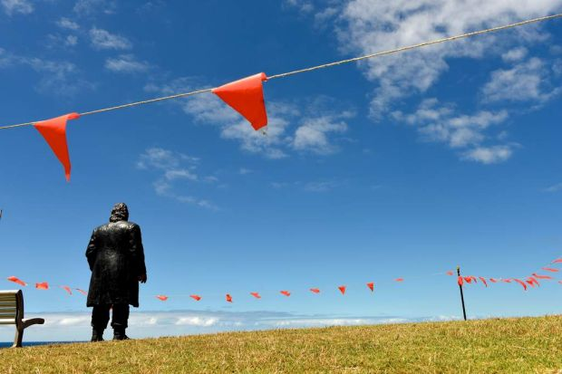 """Work by Sean Henry titled """"The Wanderer"""", tapped off with Bunting before opening."""