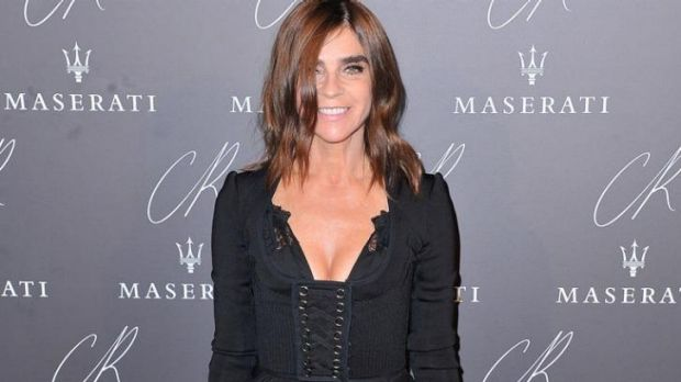 Carine Roitfeld, the former editor of Vogue Paris, shows her knickers in a sheer maxi skirt.