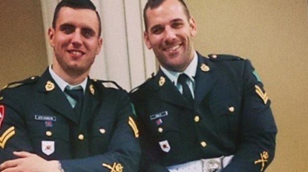 Canadian soldier Nathan Cirillo, right, in uniform in one of his last Instagram posts with an unidentified colleague.