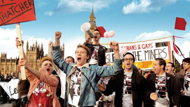 U.K. gay activists work to help miners during their lengthy strike in <i>Pride</i>.
