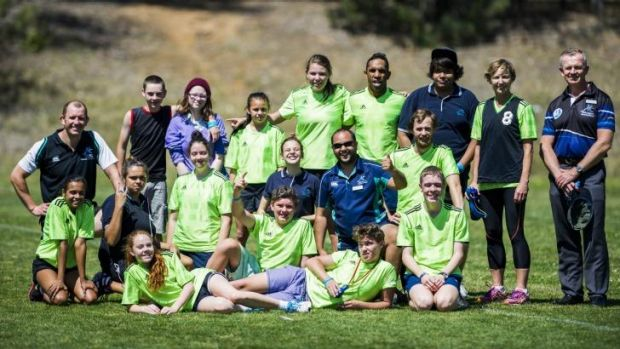 Ex Brumbies and Wallabies player Andrew Walker with the Melba Copland Secondary School handball team at the Inaugural ...