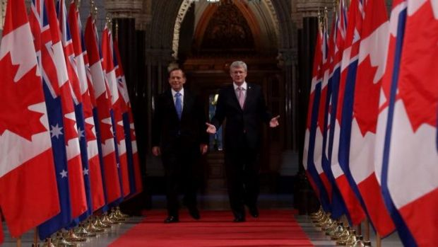 """Australians and Canadians are family"": Prime Minister Tony Abbott and Canadian Prime Minister Stephen Harper at the ..."