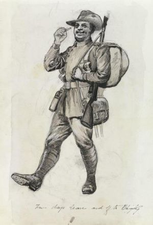 """""""Two days leave and off to Blighty"""": A drawing by Private John Beech."""