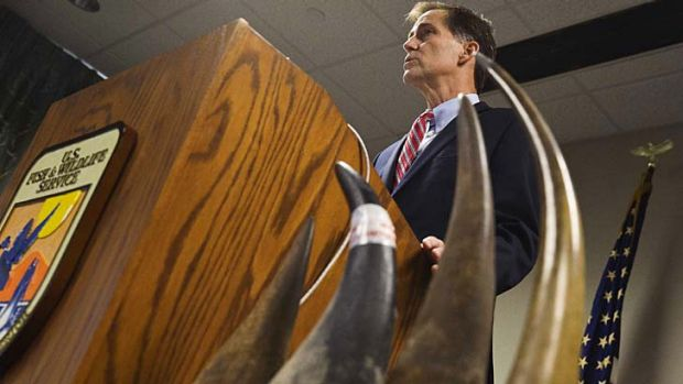 US Fish and Wildlife Service director Dan Ashe  unveils the indictment during a news conference in Montgomery. The horns ...
