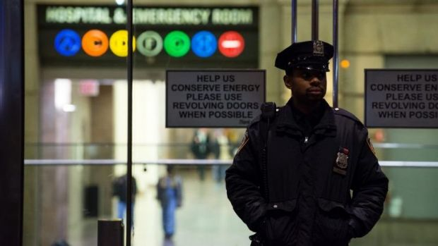 On guard: A policeman stands at the entrance to New York's Bellevue Hospital after the city's first case of Ebola was ...