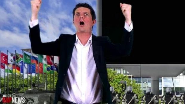 Senator Scott Ludlam shows the rage in the Juice Rap News video on YouTube.