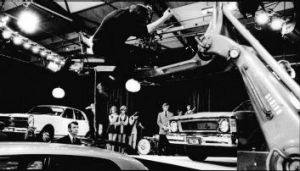 The making of a Ford car ad at the StKilda film studio in 1969.