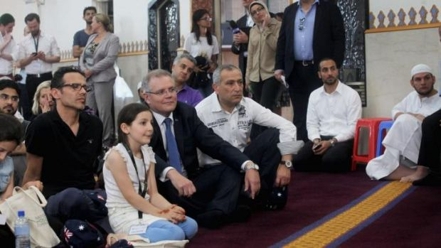 Open day: Scott Morrison at Lakemba Mosque on Saturday.