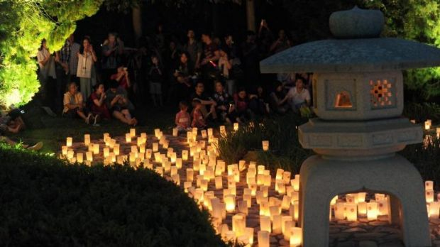 Some of the 2000 candles lit for the Nara Candle Festival at the Nara Peace Park.