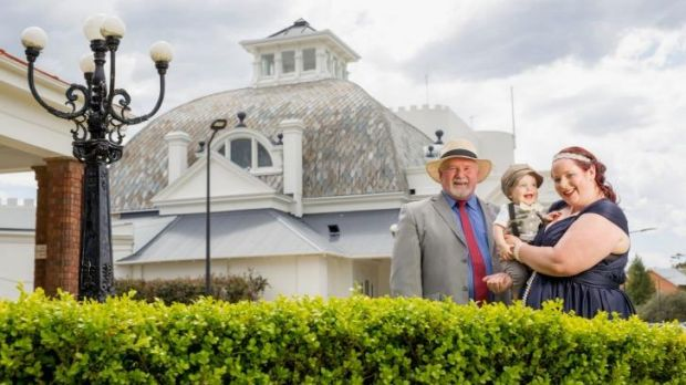 Melinda Robley and her son, Logan, with Grandfather, Geoff Smith, attend the first high tea at the Hydro Majestic.