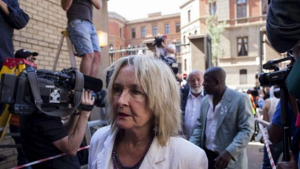 June Steenkamp arrives at the North Gauteng High Court for the sentencing of Oscar Pistorius on Tuesday.