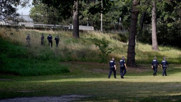 Police search the more remote corners of Centennial Park for young Bondi girl Michelle Levy.