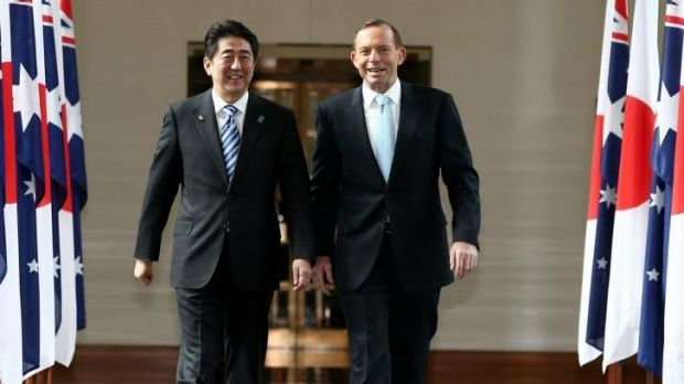 Tony Abbott with Japanese PM Shinzo Abe in Parliament House in July.