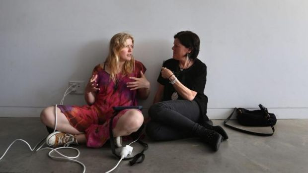 Web debate: Holly MacDonald (left) and Catherine Hickson at a workshop to amend Wikipedia.