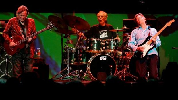 Legendary supergroup Cream (from left) bass player Jack Bruce, drummer Ginger Baker and Eric Clapton perform during a ...