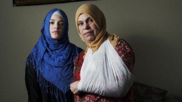 Abrar Ahmed with her mother, who was racially abused and pushed to the ground by a man in Lalor.
