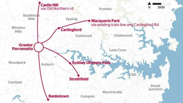 Connections: The four possible light rail routes around Parramatta to be considered by the state government.