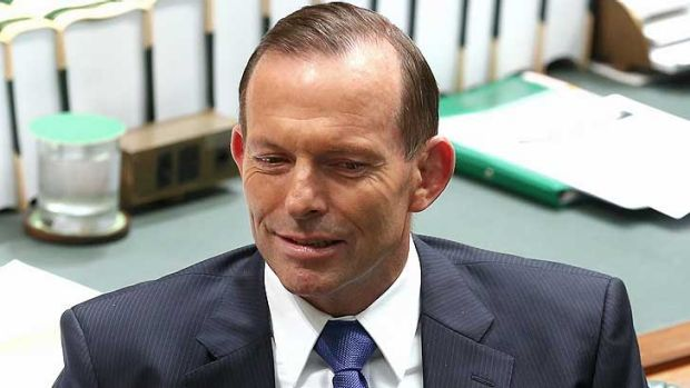 Prime Minister Tony Abbott looks askance in Parliament during Question Time.