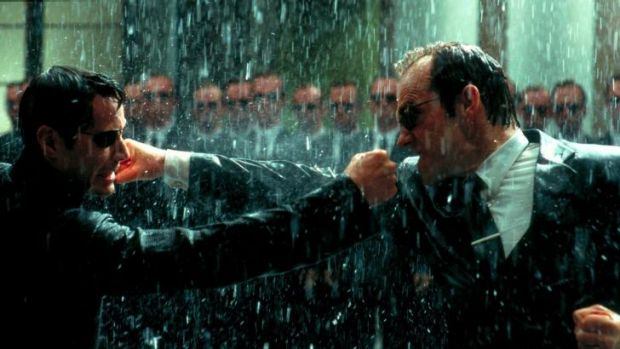 Action thriller: Keanu Reeves (left) and Hugo Weaving in <i>The Matrix Revolutions</i>.