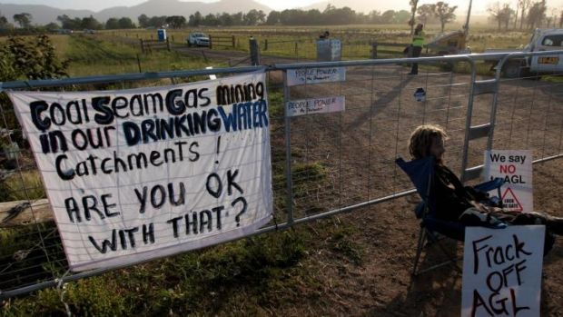 Anti-fracking protest: Signs erected by demonstrators.