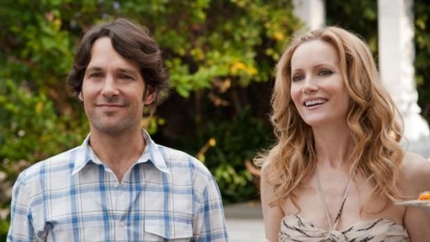 The real Paul Rudd with Leslie Mann in a scene from the film <i>This is 40</i>.
