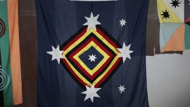 Subversive: The Kamilaroi flag, centre, by Archie Moore  at the Canberra Contemporary Art Space.  Photo: Jeffrey Chan