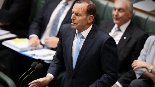Prime Minister Tony Abbott in question time.