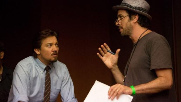 Micheael Cuesta, right, directs Jeremy Renner on the set of <i>Kill the Messenger</i>, based on a true story whose facts ...