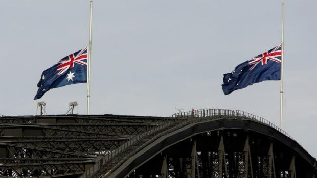 Parting company?: The New Zealand flag (right, on Sydney Harbour Bridge on Anzac Day in 2005) could soon be consigned to ...