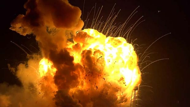 The unmanned rocket exploding seconds after lift-off at Wallops Island, Virginia.