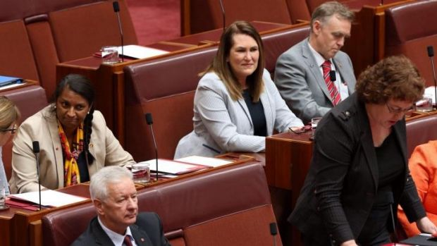 Senator Nova Peris in her first public appearance on Thursday during question time as Senator Jactina Collins asks a ...